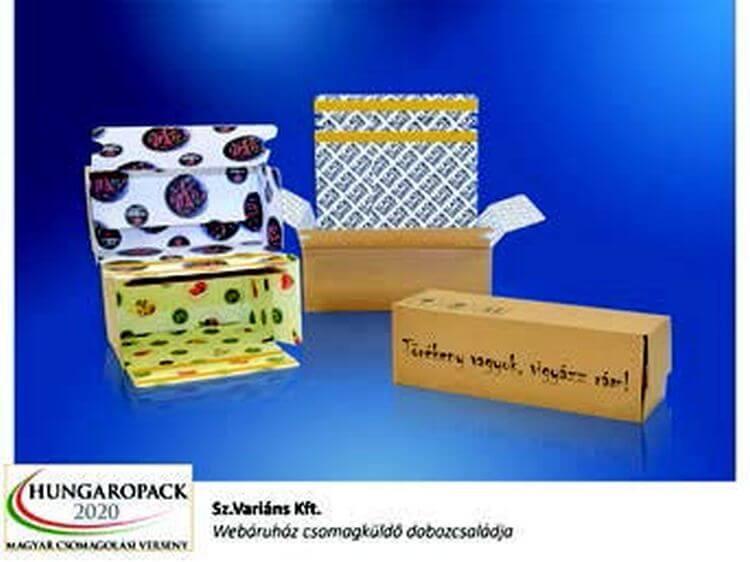 Webáruház csomagküldő doboz-családja