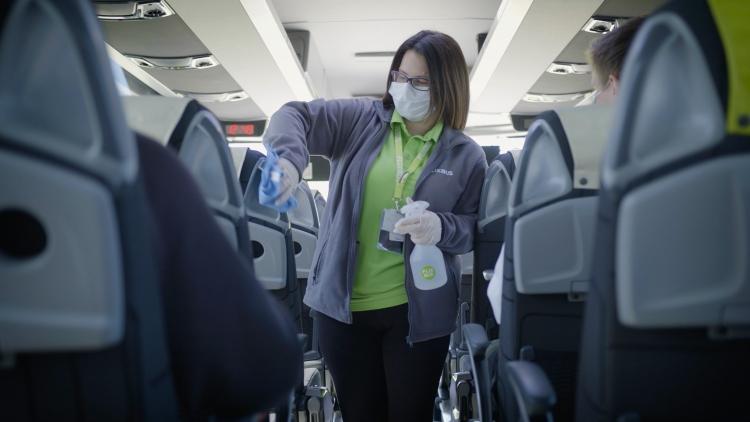 flixbus autóbusz fertőtlenítés